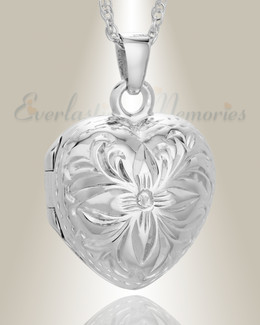 14K White Gold Daisy Heart Cremation Keepsake