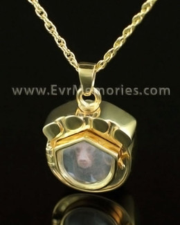 14K Gold Photo Paw Cremation Locket