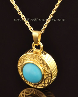 14K Gold Turquoise Urn Locket