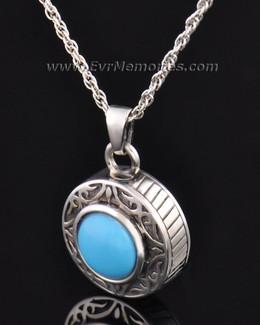 Sterling Silver Turquoise Cremation Urn Keepsake