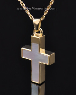 Gold Vermeil Pearly Cross Urn Keepsake
