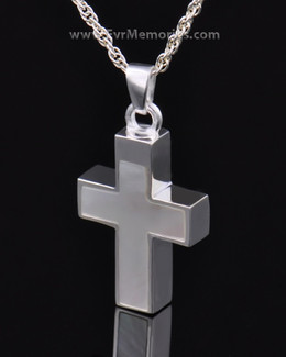 Sterling Silver Pearly Cross Cremation Urn Keepsake