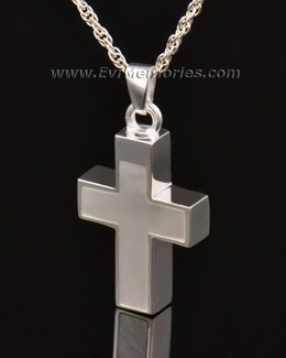 14K White Gold Pearly Cross Urn Necklace
