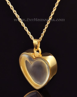 Gold Vermeil Trimmed Heart Cremation Urn Keepsake