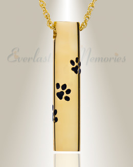 Gold Vermeil Paw Cylinder Urn Necklace