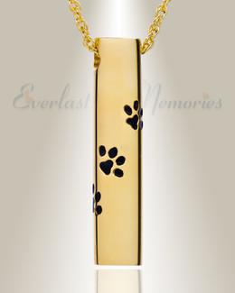 14K Gold Paw Cylinder Urn Keepsake