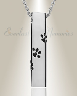 14K White Gold Paw Cylinder Jewelry Urn