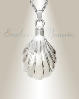 14K White Gold Shells Cremation Charm