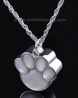 Sterling Silver Pearly Paw Funeral Jewelry