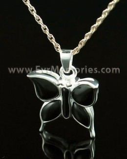 14K White Gold Night Butterfly Memorial Jewelry