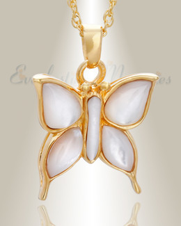 14K Gold Dewy Butterfly Cremation Charm