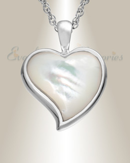 14K White Gold Dewy Heart Cremation Keepsake Pendant