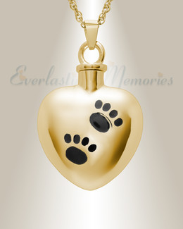 14K Gold Paws on Heart Jewelry Urn