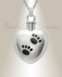 14K White Gold Paws on Heart Funeral Jewelry