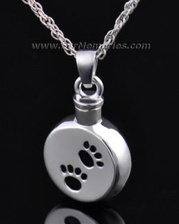 Sterling Silver Paws on Disc Cremation Urn Keepsake