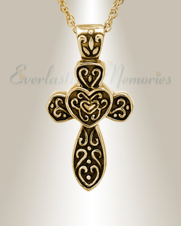 14K Gold Cathedral Cross Cremation Keepsake