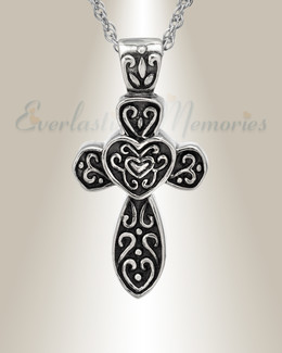 Sterling Cathedral Cross Funeral Jewelry