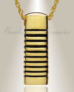 14K Gold Grooved Cylinder Cremation Keepsake
