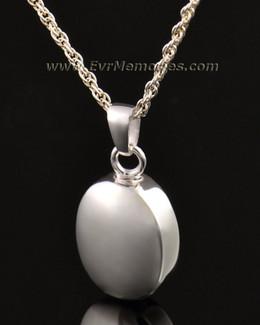 14k White Gold Silver Oblique Memorial Locket
