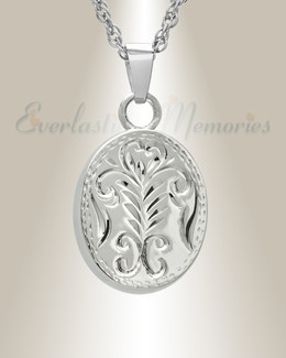14k White Gold Majesty Round Cremation Urn Keepsake