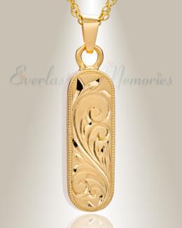 14K Gold Majesty Cylinder Cremation Keepsake