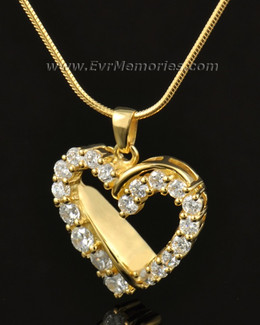 14K Gold Glimmer Heart Funeral Jewelry