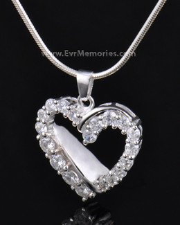 Sterling Silver Glimmer Heart Urn Necklace
