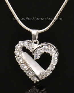 14K White Gold Glimmer Heart Cremation Keepsake