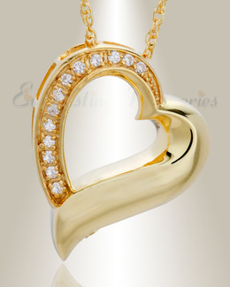 14K Gold Passion Heart Funeral Jewelry