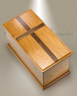 Extra Large Alder Cremation Urn w/ Walnut Cross