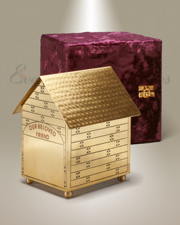 Brass Dog House Cremation Urn