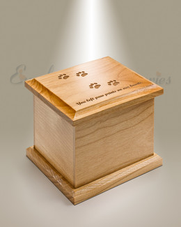 Extra Small Alder Cremation Urn w/ Pawprints