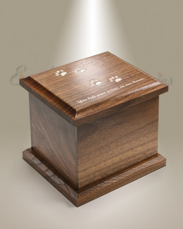 Extra Small Walnut Cremation Urn w/ Pawprints