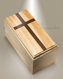 Traditional Pine Cremation Urn w/ Walnut Cross