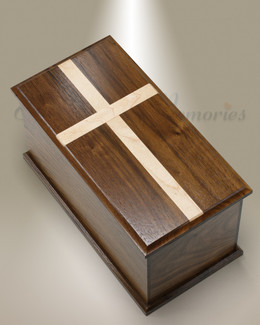 Extra Large Walnut Cremation Urn w/ Maple Cross