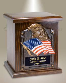 American Flag and Eagle Cremation Urn
