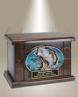 Bass Fishing Wood Cremation Urn