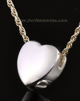 14k White Gold Dedication Heart Ash Pendant