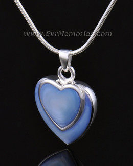 14k White Gold Indigo Heart Urn Necklace