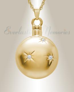 Gold Plated Sunburst Cremation Urn Pendant