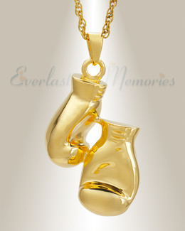 Gold Plated Boxing Cremation Urn Locket