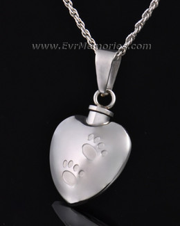Stainless Steel Pawed Heart Pendant Keepsake