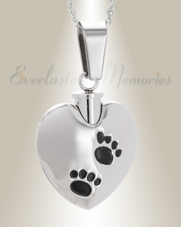 Stainless Steel Dirty Paws Heart Jewelry Urn