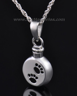 Stainless Steel Dirty Paws Round Remembrance Jewelry