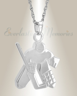 Sterling Silver Hockey Player Urn Locket
