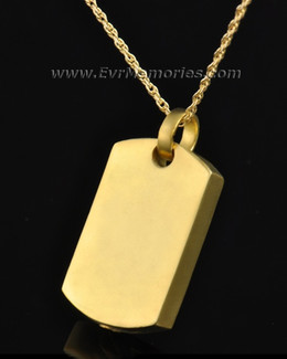 Gold Plated Simple Rectangle Urn Pendant