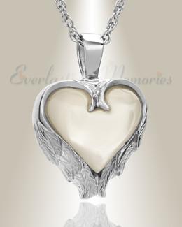 14k White Gold Innocent Heart Memorial Locket