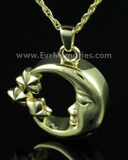 Gold Plated Moon and Stars Cremation Pendant