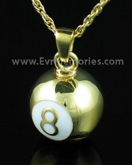 Gold Plated 8 Ball Memorial Urn Jewelry