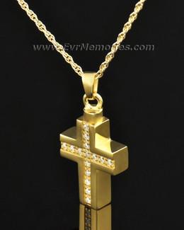 Gold Plated Brilliant Cross Keepsake Locket